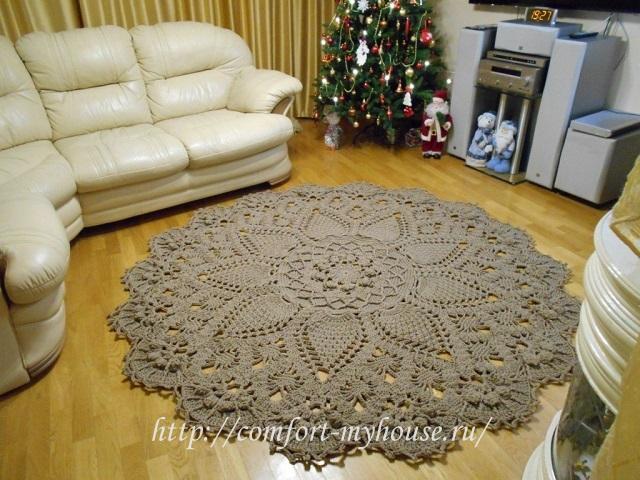 Вязанные крючком ковры из шнура со схемами