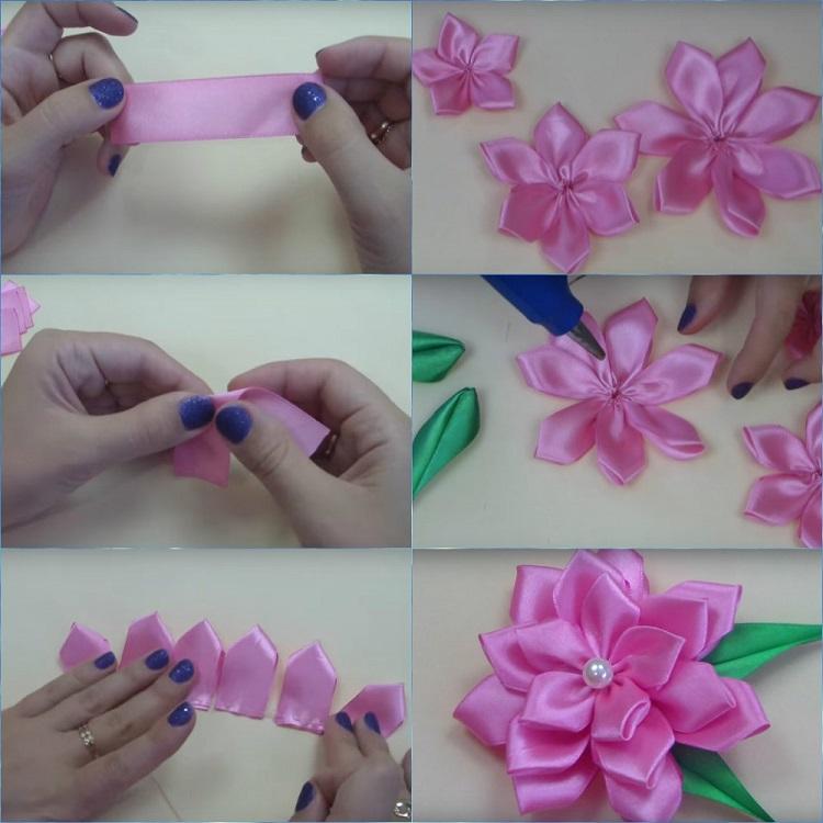 Маленький цветочек из ленты своими руками 93