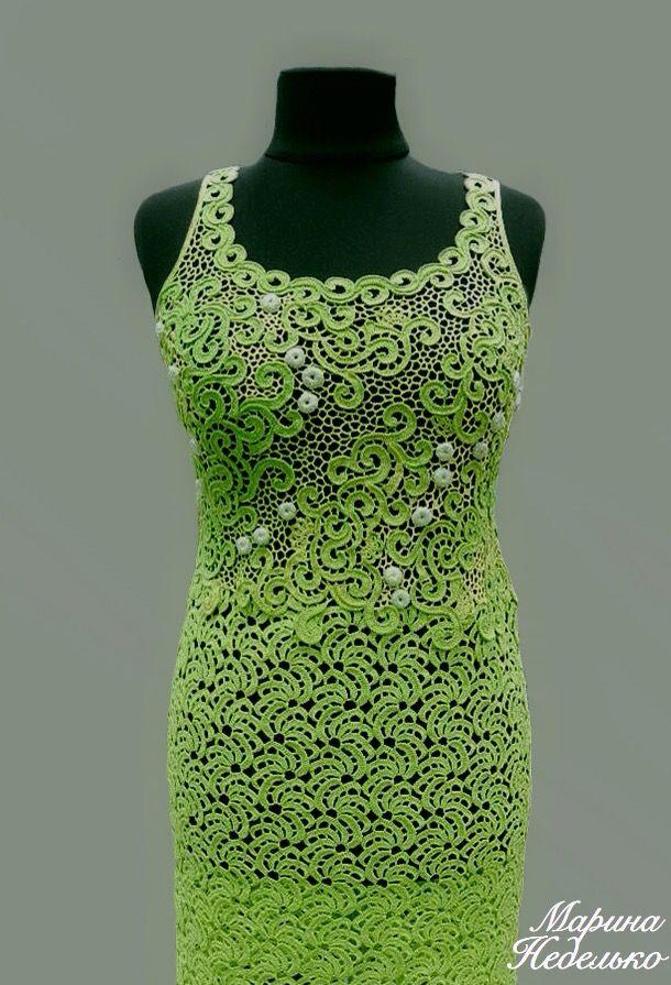 Вяжем новое ленточное кружево «МАНДАРИНКИ»… В этом платье все тебе обзавидуются