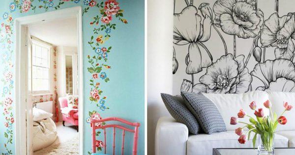 Роспись на стенах растения