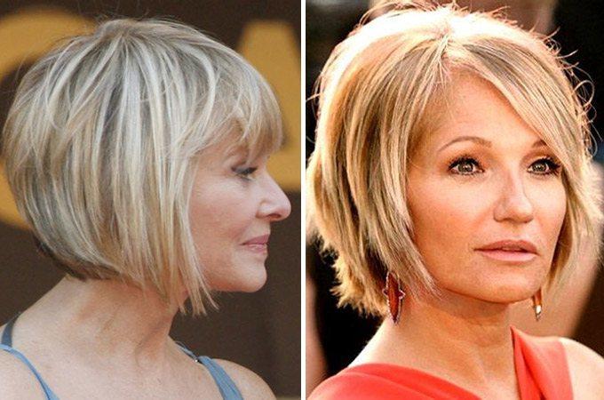 Прически для женщин 40 лет на средние волосы с круглым лицом