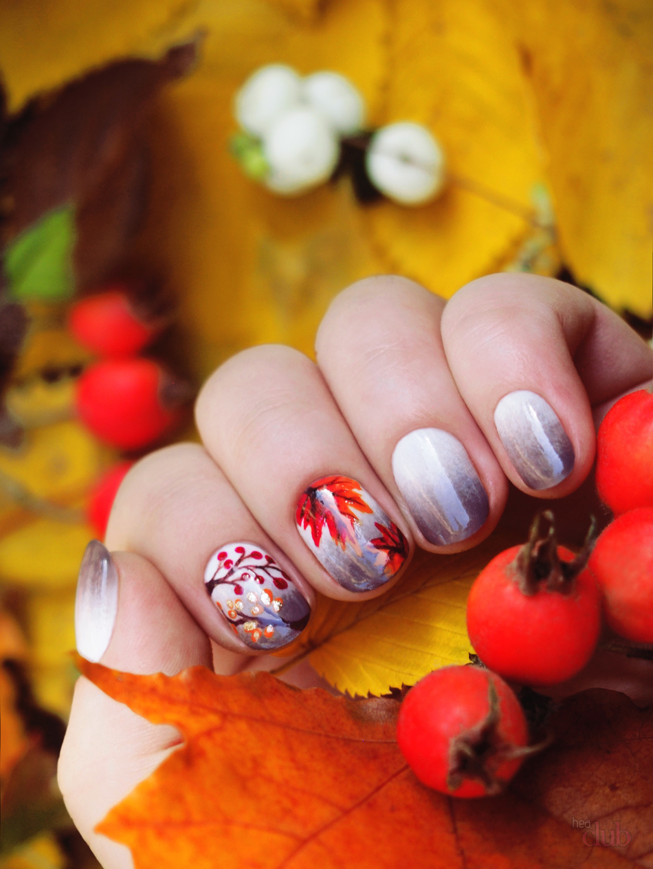 Осенний шеллак на короткие ногти фото