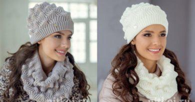 Красивейшийвязаный комплект: шапка и снуд…