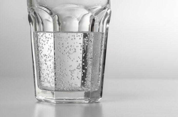 A glass of carbonated mineral water