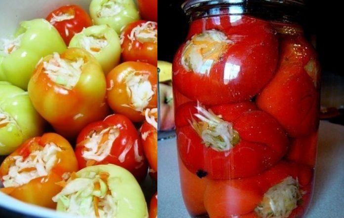 рецепты перца начиненного капустой